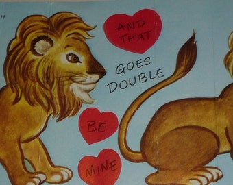 "In ""LION"" To Be My Valentine Vintage 1950s Card"
