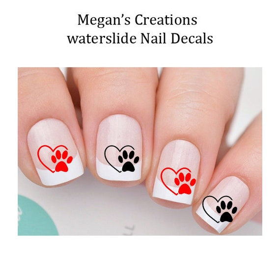Dog Paws & Hearts - WaterSlide Nail Art Decals from ...