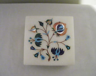 Vintage White Soapstone Inlaid Square Covered Trinket Jewelry Box