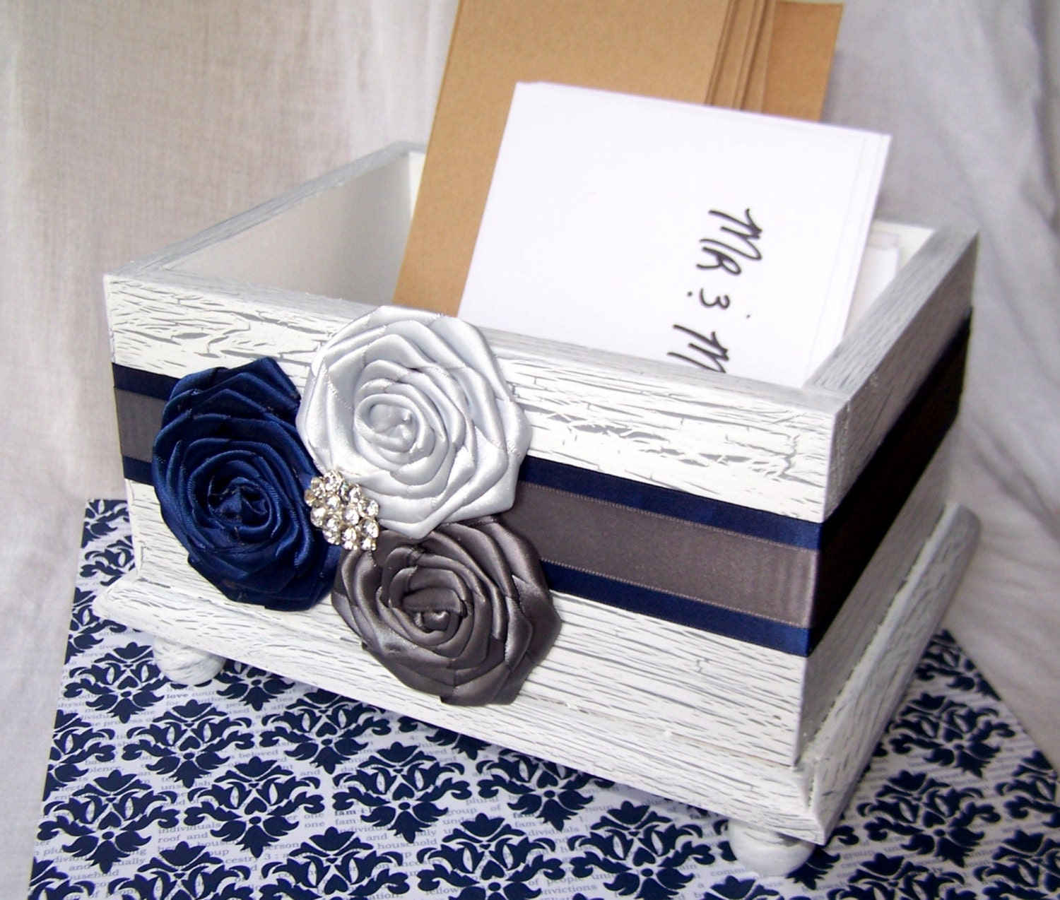 Wedding Card BOX / Rustic Card Box / White Card Box / Navy and