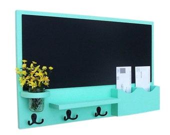 Mail Organizer - Chalkboard Mail Organizer - Large Chalkboard - Mail Holder - Letter Holder - Jar Vase - Organizer - Coat Rack - Wood
