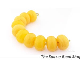 GHEE BUTTER YELLOW Lamp Work Beads Spacers Glass Handmade - The Spacer Bead Shop