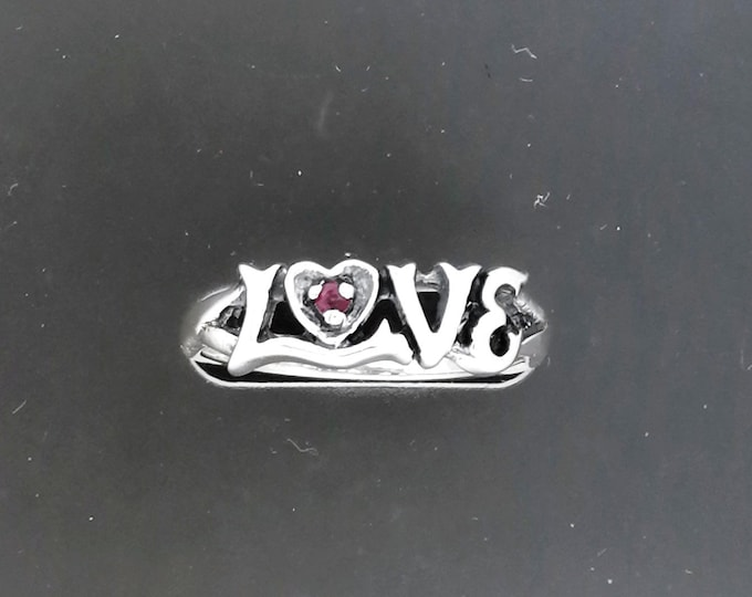 Love Ring in Sterling Silver with Gemstone Heart