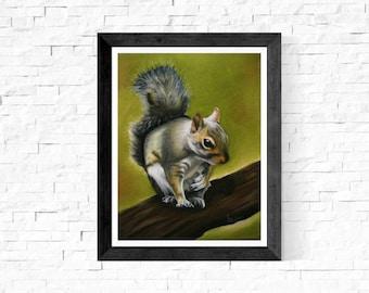 Woodland Squirrel Art Print/Squirrel Wall Art Print/Woodland Squirrel Nursery Art/Squirrel Painting/Gray Squirrel/Forest/Nature/Wildlife Art