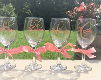 Personalized Wedding Wine Glasses for Bridal Party