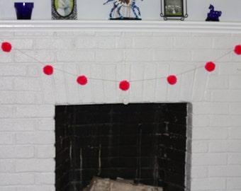 Pom Pom Garland, Pink Pompom Garland, Festive Garland, Birthday Decoration, Nursery Decoration, Yarn Pompoms, Pink Garland, Fireplace Decor