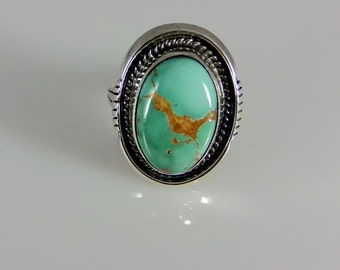 Sterling Silver Ring With Turquoise; Handmade Size 7.0, R0383