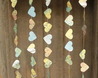 Atlas Garland, Map Garland, Paper Garland, Hearts Garland, Paper Hearts, Wedding Decoration - TINY hearts, made to order, 10 feet long