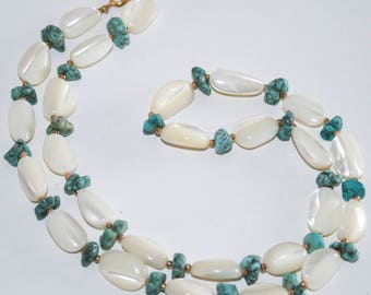 Mother of Pearl and Turquoise Beaded Necklace