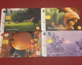 Phone Cards Latvia 4 Pcs Lattelekom Telekarte 1998 2000 2001 5 Ls C105
