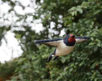 Needle Felt Swallow Hanging Bird Sculpture