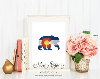Colorado Bear Graphic Wall Art   Printable Wall Art    Home Decor   Bear Wall Print   Colorado Wall Art   Colorado Inspired   Colorado Flag