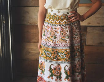 Vintage Indian Cotton Wrap Skirt / Block Print / Hippie Folk Wear