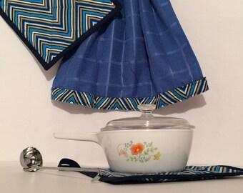Oven Door Towel & Potholders - Blue Deco