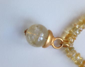 Citrine Heishi with Ball Pendant Necklace