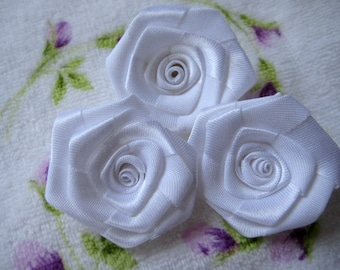 """1.5"""" White Satin Ribbon Rose for Sewing, Party Dresses, Hair Accessories, Doll Clothing, Crafting, Wedding, 12 pieces"""