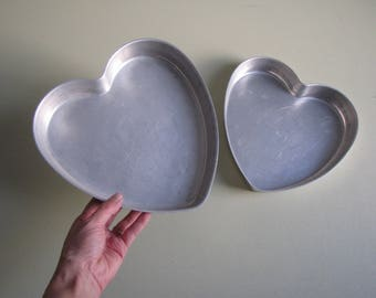 Vintage Mirro Aluminum Heart Cake Pans - set of 2