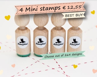 Mini ink Stamps - Choose 4 mini stamps out of more than 200 different designs  - mini wedding stamps - mini baby stamps - mini cactus stamps
