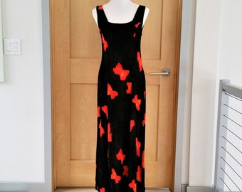 "Vintage ""Antonio Moreno"" Long Halter Sundress Black with Red Butterflies Size Medium"