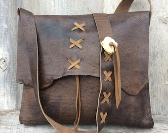 Leather Cross Body Bag in Distressed Brown - Handmade - All Leather - Deer Antler Accents - Lacing - Rustic Style - by Stacy Leigh