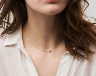 Ultra Dainty Necklace with Tiny Gemstone Drop, Simple Crystal Necklace / 14k Gold fill, Rose Gold, or Sterling Chain, Layered and Long LN618