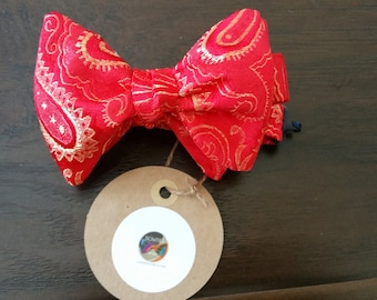 Red and Gold Paisley Designer Freestyle BowTieByEDJ