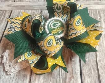 Green Bay Packers Baby Headband,Greenbay Packers Hairbow,NFL Baby Headband,Newborn Infant Headband,Yellow and Green Bows,Packers Hair Bows