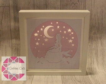 Mermaid papercut, light up, night light, mythical and fantasy creatures, gift for a girl, gift for boys, childrens present, birthday present