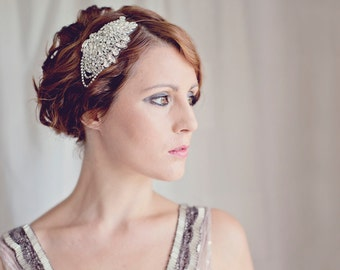 Downton Abbey,Great Gatsby,1920s, Art Deco, Flapper, Diamante Headband, Side Headband, Rhinestone Headband,
