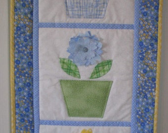 Blue and Yellow Flower Pots Quilted Wall Hanging