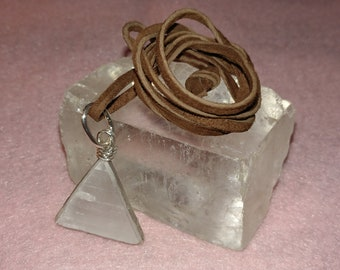 Selenite Triangle and 925 Silver Pendant with Suade Brown Cord A