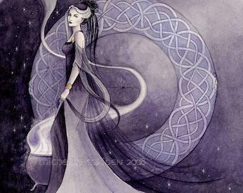Arianrhod PRINT Celtic mythology, goddess art, witch painting, priestess, pagan art, celtic knotwork, purple faerie, mystic myth watercolour