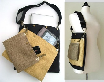 crossbody purse, laptop messenger bag, tote bag, cross body bag, black tote bag,  womens crossbody bag, book bag, school bag