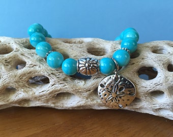 Shell Bracelet, Shell Jewelry, Sand Dollar Charm, Stretch Bracelet, Ocean Jewelry, Boho Jewelry, Beaded Bracelet, Gift for Her, Seashells