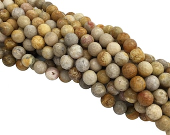 1Full Strand Fossilized Coral Faceted Round beads 6mm 8mm 10mm 12mm Wholesale Fossil Coral Gemstone For Jewelry Making