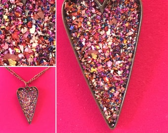 Ruby Glitter Heart Necklace