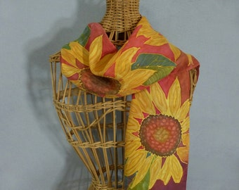 """Silk Scarf (Small) """"Bright Yellow and Red Sunflower"""", Hand Painted Silk Scarf"""