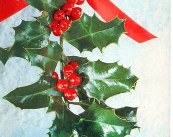 Used Christmas Card, ribbon and holly, 1970s, good shape