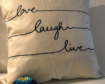 Pillow cover with font cover love laugh live