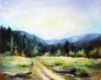Landscape painting, original acrylic painting, small painting