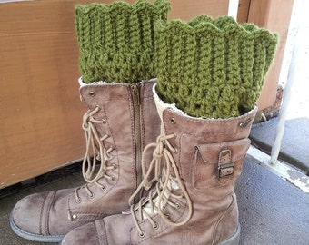 ON SALE 40% OFF! Plus Size Boot Cuffs, Boot Toppers - With Bonus Flower Pin- in Olive Green