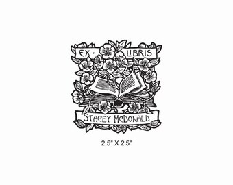 Books and Roses Personalized Ex Libris Rubber Stamp E12
