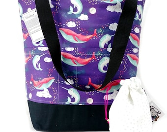 Studio Bucket Tote - Knitting & Crochet Large Project Bag - Dream Whales