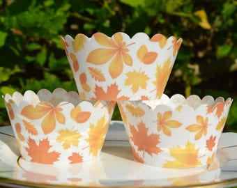 Edible Cupcake Wrappers Autumn Leaves x 12 Wafer Rice Paper Patterned Fairy Cake Fall Maple Leaf Cupcake Orange Wedding Party Favours