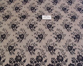 Black chantilly Lace fabric, Wedding lace, black chantilly lace fabric, flower pattern  M000011