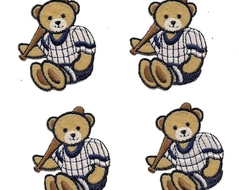 4 pc Blue White Baseball Playing Bears Uniforms Iron On Patch Applique