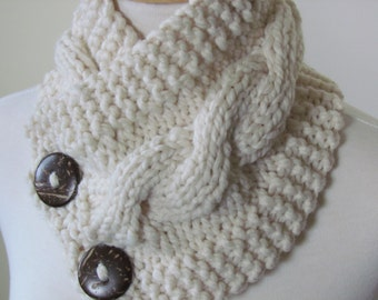 "Chunky Cable Neck Warmer Knit Thick Fisherman Scarf Wool Blend 6"" x 25"" - Cocconut Shell Buttons Ready to Ship - Gift for Her"