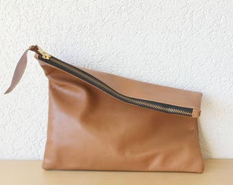 Brown Italian Leather Clutch. Large Leather Pouch. iPad Leather Case. Travel Documents Holder. Holiday Cosmetic and Toiletry Organiser