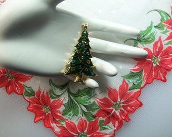 Gold Tone Green Enamel Multi Color Swarovski Crystal Rhinestones Christmas Tree Holiday Pin Brooch Designer Signed Swarovski Swan