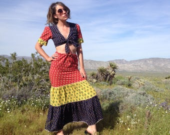Vintage 70's Indian Block Print Cotton Crop Top and Maxi Skirt Two Piece Set / Boho Hippie Festival Women S